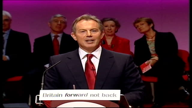 manifesto launched; jon sopel question about blair serving full term tony blair answer sot - when i say full term that is exactly what i mean john... - jon sopel stock videos & royalty-free footage