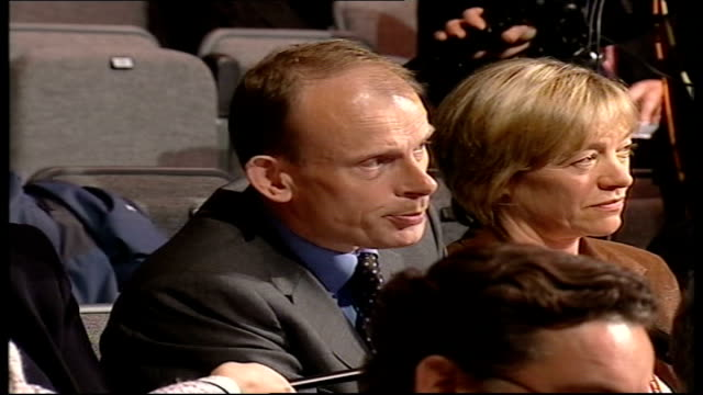 manifesto launched; tony blair starting question & answer session sot andrew marr asking question about national insurance not being mentioned tony... - seguire attività che richiede movimento video stock e b–roll
