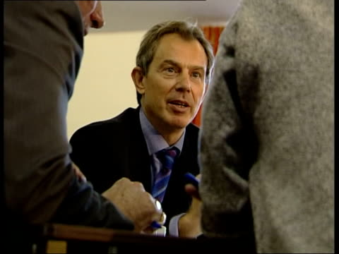 labour party mass consultation exercise; itn wales: gwent: newport: ext lms prime minister tony blair from car zoom in as greeted by welsh secretary... - charles clarke uk politician stock videos & royalty-free footage