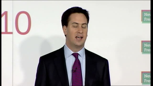 Ed Miliband speech ENGLAND Kent Gillingham INT Harriet Harman MP introduction Ed Miliband MP along to stage and kisses Harman SOT Ed Miliband MP...