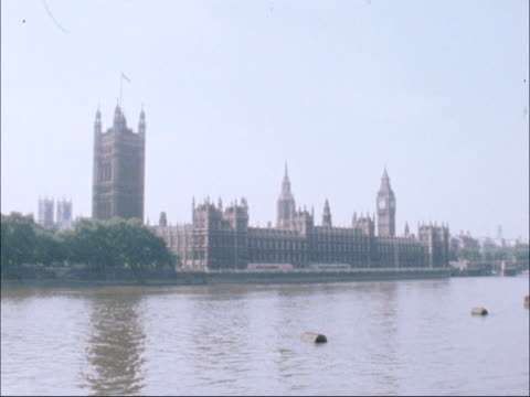 labour party nec meeting; england: london: westminster: ext general view of the houses of paliament across river thames broadcast at nat - river thames stock videos & royalty-free footage