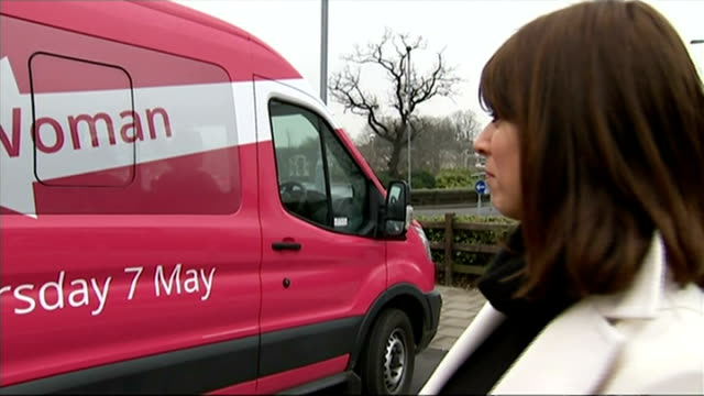 labour party pink bus, aimed at attracting women voters, hits the road; hertfordshire: stevenage: ext gloria de piero mp interview sot - hot, err -... - gloria de piero stock videos & royalty-free footage
