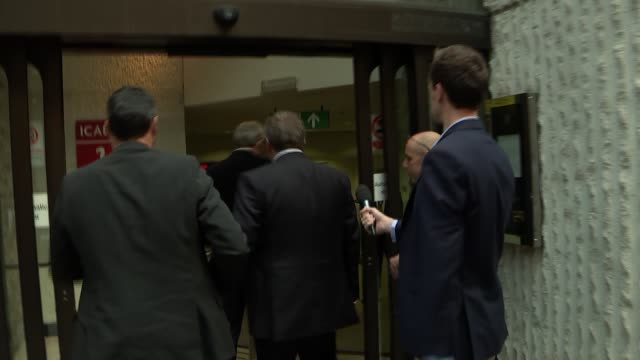 Progress meeting Blair arrival and departure ENGLAND London Moorgate EXT Car arriving and former Prime Minister Tony Blair out and into building to...