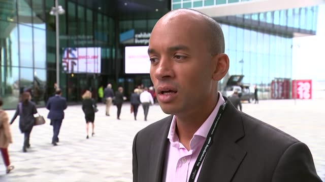 questions over unity ahead of party conference ext itn reporter showing labour mp chuka umunna newspaper headline that suggests he is preparing to... - cheek to cheek stock videos & royalty-free footage