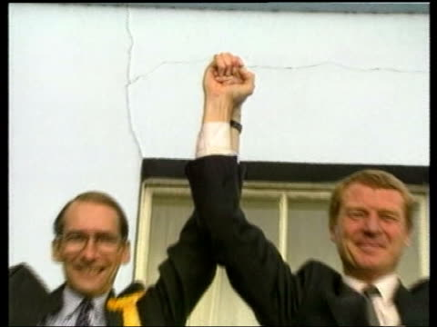 labour party spring conference 2006 / loss of dunfermline and west fife seat tx ext paddy ashdown posing on balcony with david bellotti - paddy ashdown stock-videos und b-roll-filmmaterial
