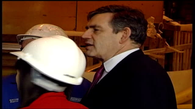 labour party spring conference 2006 / loss of dunfermline and west fife seat tx int gordon brown mp chatting to group of dockyard workers during... - dunfermline stock videos & royalty-free footage