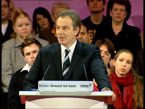 labour party spring conference england tyneside gateshead tony blair mp speech at labour party spring conference sot i'm back nd it feels good gv... - police line up stock videos and b-roll footage