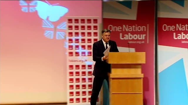 Labour plan to reintroduce 50p top rate of income tax INT Ed Balls applauded by audience as to podium on stage Ed Balls speech SOT for the next...