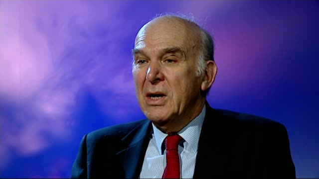labour pledge to cut university tuition fees: vince cable interview; england: london: int vince cable mp interview sot - on labour plans for student... - ポピュリズム点の映像素材/bロール