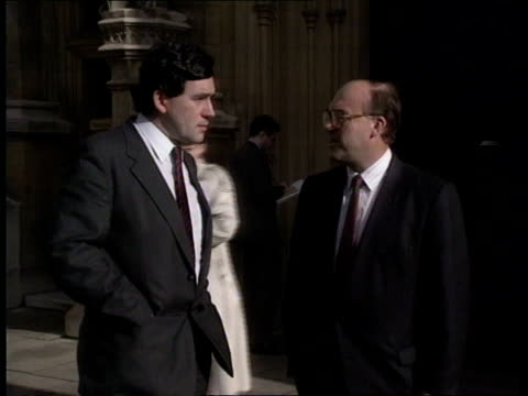 labour shadow cabinet reshuffle ext john smith and gordon brown chat - ゴードン ブラウン点の映像素材/bロール