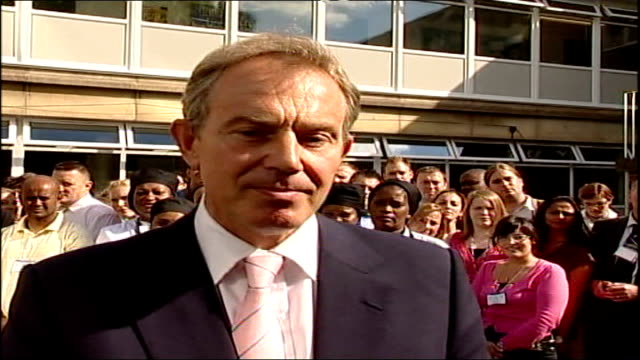 tony blair leadership: blair announces he will resign but gives no exact date; tony blair mp speaking to press sot - the first thing that i'd like to... - trades union congress stock videos & royalty-free footage