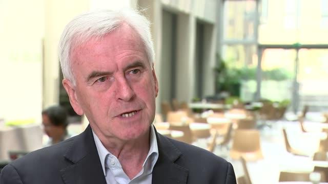 labour vows to end outsourcing and privatisation of council services england london int john mcdonnell mp interview sot on discouraging outsourcing... - outsourcing video stock e b–roll