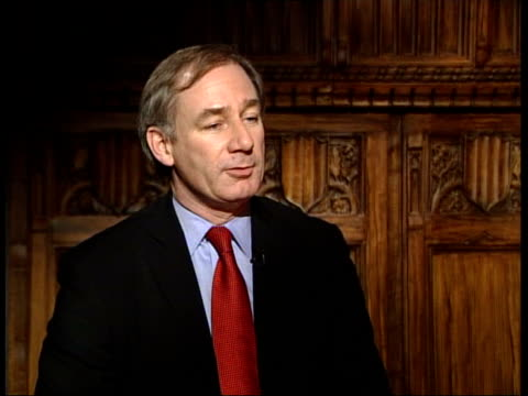 lack of kit for iraq troops/ armed forces reorganisation itn geoff hoon mp interview clean feed tape = d0626044 or d0626045 001222 to 001618 fx... - john w. snow politician stock videos and b-roll footage