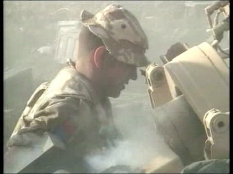 lack of kit for iraq troops/ armed forces reorganisation news lib british soldiers firing artillery guns during gulf war british tanks along in desert - iraq stock videos and b-roll footage