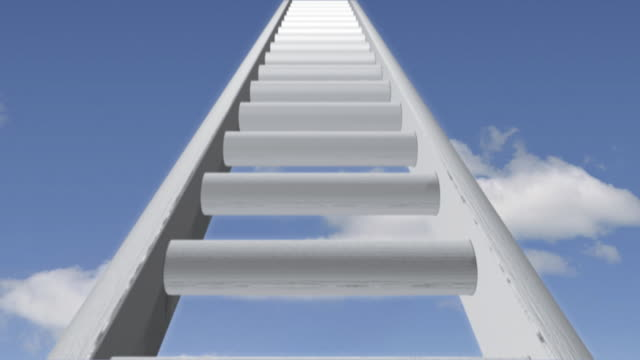 stockvideo's en b-roll-footage met ladder 01 white sky loop - ladder gefabriceerd object
