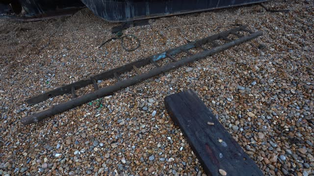 ladder sits on the beach in hastings u.k. on friday, january. 15, 2021. while prime minister boris johnson claimed last month's trade deal will let... - ladder stock videos & royalty-free footage