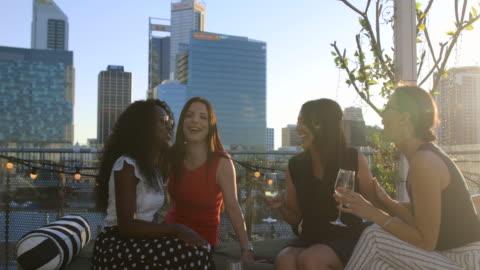 ladies night - rooftop stock videos & royalty-free footage