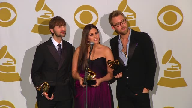 lady antebellum on whitney houston on what they like to write about and on winning a grammy award at the 54th annual grammy awards press room on... - whitney houston stock-videos und b-roll-filmmaterial