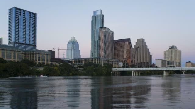 Lady Bird Lake, Congress bridge and the Skyline of downtown Austin, Texas, USA