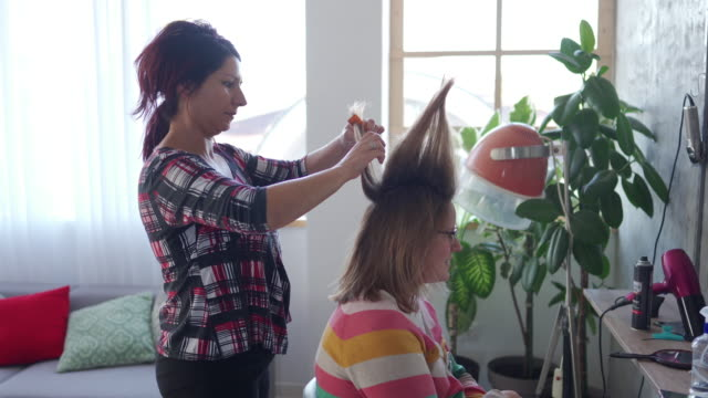 lady boss in beauty salon making hairstyle - hair spray stock videos & royalty-free footage