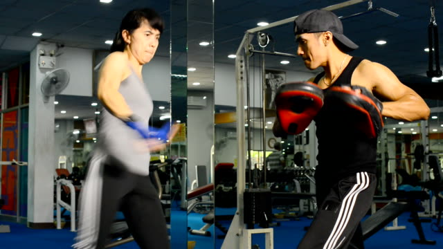 Lady doing Muay Thai (Kickboxing) exercise.