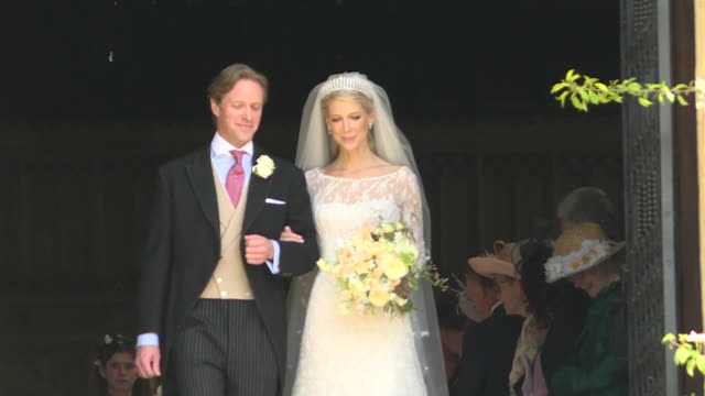 lady gabriella windsor and thomas kingston leave st george's chapel after their wedding and kiss on the steps - st. george's chapel stock videos & royalty-free footage