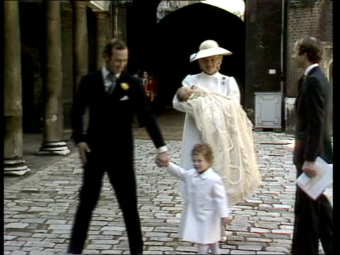 lady gabriella windsor christening st james palace gv palace guardsman on left ms princess michael holding baby prince michael rescues lord freddie... - baptism stock videos & royalty-free footage