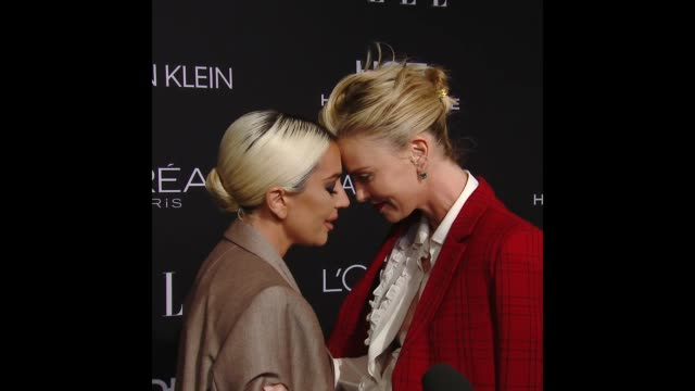lady gaga and charlize theron at elle's 25th annual women in hollywood celebration presented by l'oreal paris hearts onfire and calvin klein - lady gaga gifs stock videos & royalty-free footage
