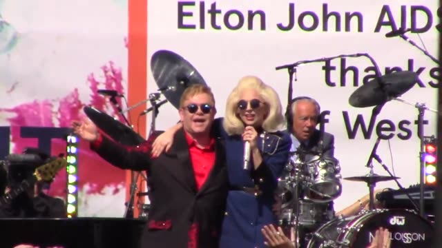 lady gaga and elton john perform at tower records on sunset blvd in west hollywood at celebrity sightings in los angeles on february 27 2016 in los... - elton john stock videos & royalty-free footage