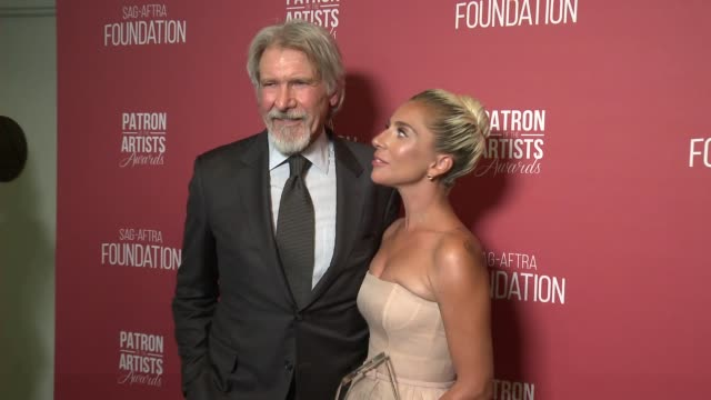 Lady Gaga and Harrison Ford backstage at the SAGAFTRA Foundation's 3rd Annual Patron Of The Artists Awards at Wallis Annenberg Center for the...