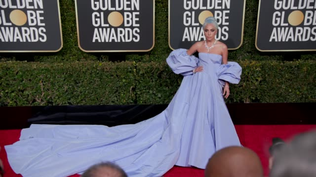 lady gaga at 76th annual golden globe awards - arrivals in los angeles, ca 1/6/19 - 4k footage - golden globe awards stock videos & royalty-free footage