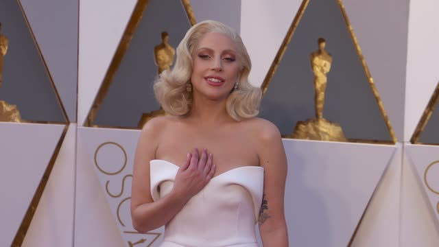 lady gaga at 88th annual academy awards arrivals at hollywood highland center on february 28 2016 in hollywood california 4k - academy awards stock videos & royalty-free footage