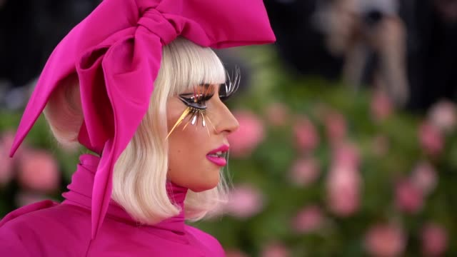 first lady gaga at the 2019 met gala celebrating camp notes on fashion graphic social at metropolitan museum of art on may 6 2019 in new york city - met gala 2019 stock videos and b-roll footage