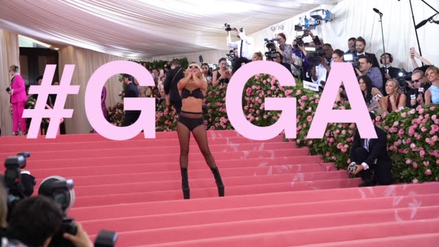 first lady gaga at the 2019 met gala celebrating camp notes on fashion graphic social at metropolitan museum of art on may 6 2019 in new york city - lady gaga stock videos & royalty-free footage