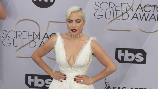 lady gaga at the 25th annual screen actors guild awards at the shrine auditorium on january 27 2019 in los angeles california - 映画俳優組合点の映像素材/bロール