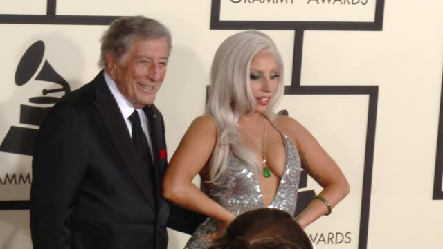 lady gaga at the 57th annual grammy awards red carpet at staples center on february 08 2015 in los angeles california - 2015 stock-videos und b-roll-filmmaterial