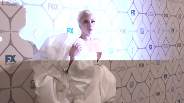 vídeos y material grabado en eventos de stock de lady gaga at the 67th primetime emmy awards fox after party at vibiana in los angeles in celebrity sightings in los angeles, - premios emmy