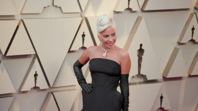 vídeos de stock e filmes b-roll de lady gaga at the 91st academy awards arrivals at dolby theatre on february 24 2019 in hollywood california - cerimónia dos óscares