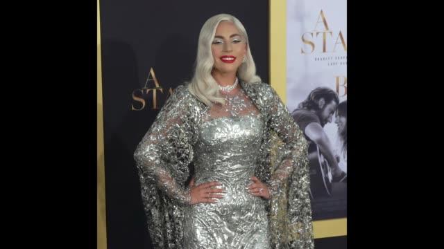 lady gaga at the 'a star is born' los angeles premiere - lady gaga gifs stock videos & royalty-free footage