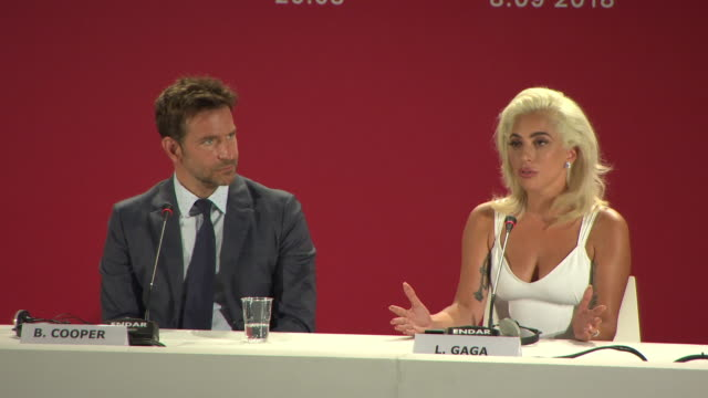 interview lady gaga bradley cooper on her early career not letting music producers take her songs away being her own artist at 'a star is born' press... - lady gaga stock videos & royalty-free footage