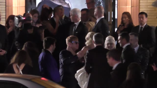 lady gaga elton john arrives to the vanity fair oscar award party at wallis annenberg center in beverly hills in celebrity sightings in los angeles - vanity fair stock videos and b-roll footage