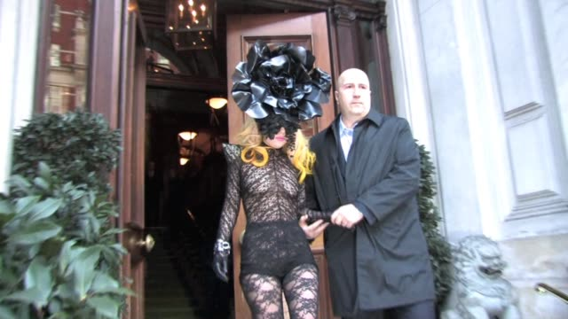 lady gaga leaves the mandarin hotel for a private engagement before heading to scotland for a concert tonight as part of her monster tour mandarin... - lady gaga stock videos & royalty-free footage