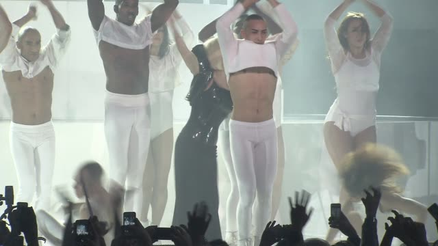 performance lady gaga performs applause at lady gaga presents artrave event at the brooklyn navy yard on 11/10/13 in brooklyn ny - performance stock videos & royalty-free footage