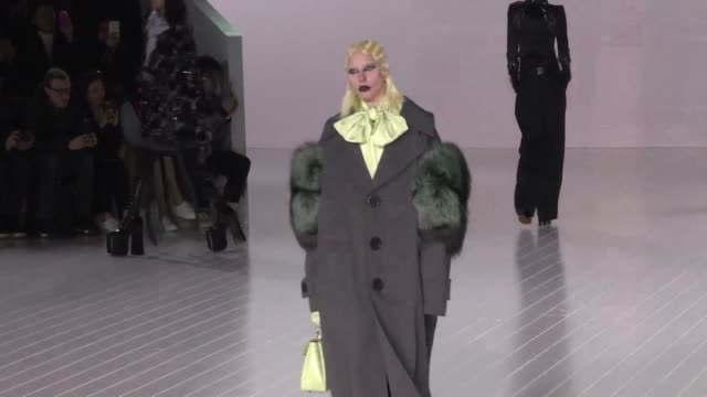 lady gaga powered down the runway for design legend marc jacobs in a triumphant finale to new york fashion week thursday showcasing a gothic fantasy... - marc jacobs designer label stock videos and b-roll footage