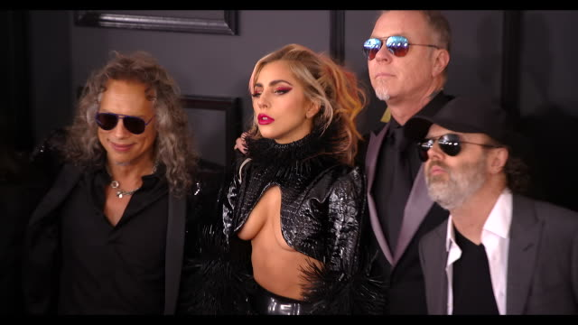 Lady Gaga Robert Trujillo Kirk Hammett James Hetfield and Lars Ulrich at the 59th Annual Grammy Awards Arrivals at Staples Center on February 12 2017...