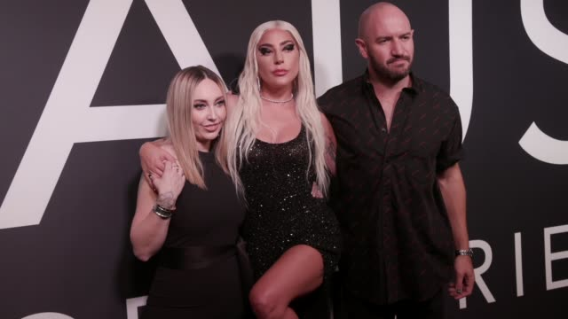 lady gaga sarah tanno and bobby campbell at lady gaga celebrates the launch of haus laboratories at barker hangar on september 16 2019 in santa... - arts culture and entertainment stock videos & royalty-free footage