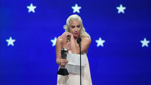 lady gaga speaks onstage during the 24th annual critics' choice awards at barker hangar on january 13 2019 in santa monica california - lady gaga gifs stock videos & royalty-free footage