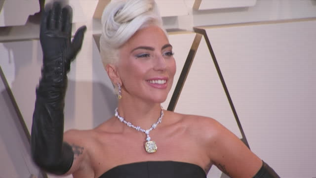 lady gaga walking the red carpet at the 91st annual academy awards at the dolby theater in los angeles, california. - music or celebrities or fashion or film industry or film premiere or youth culture or novelty item or vacations 個影片檔及 b 捲影像