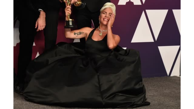 lady gaga winner of best original song for 'shallow' poses in the press room during the 91st annual academy awards at hollywood and highland on... - oscars stock videos & royalty-free footage