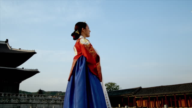 MS Lady in queen Dress standing behind Gyeongbokgung Palace / Seoul, South Korea